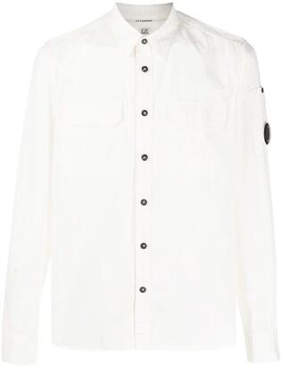 C.P. Company Button-Up Logo Plaque Shirt
