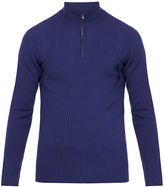 Pringle French Navy Ribbed Merino Wool Funnel Sweater with Zip