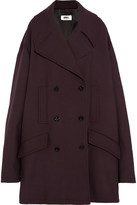 MM6 MAISON MARGIELA Oversized Double-breasted Bonded Jersey Coat - Merlot