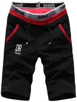 MANLUODANNI Men's Casual Cotton Beach Elastic Gym Shorts L