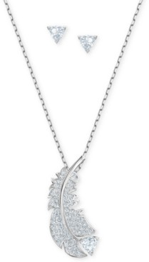 """Swarovski Silver-Tone Crystal Feather Pendant Necklace & Triangle Stud Earrings Set, 14"""" + 2"""" extender"""