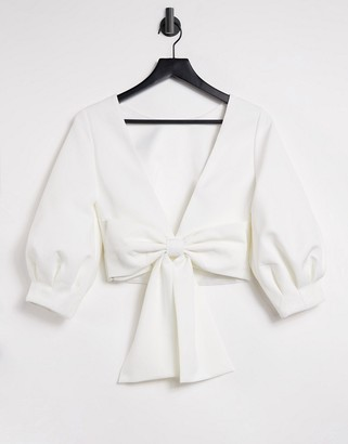 Forever New open back puff sleeve top with bow detail in ivory
