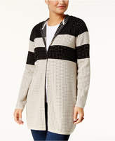 Style&Co. Style & Co Cotton Hooded Colorblocked Cardigan, Created for Macy's