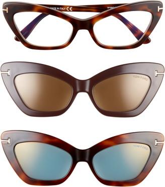 Tom Ford 55mm Blue Light Blocking Cat Eye Glasses & Interchangeable Sunglasses Clip Set