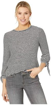 Lucky Brand Stripe Tie Sleeve Cloud Jersey Top (Black/White Stripe) Women's Clothing