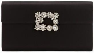 Roger Vivier Crystal Buckle Satin Envelope Clutch