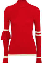 Maggie Marilyn - Heart Whisper Striped Ribbed Merino Wool Sweater - Red