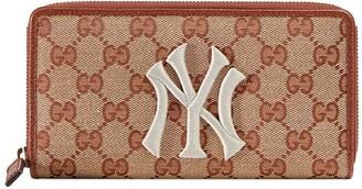 Gucci Original GG zip around wallet with New York Yankees patch