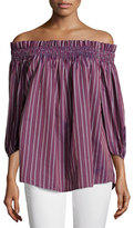 Caroline Constas Lou Off-The-Shoulder Striped Top, Bordeau