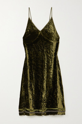 R 13 Tie-detailed Silk-trimmed Velvet Dress - Green
