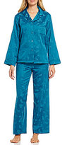 Miss Elaine Brushed Back Satin Floral Printed Pajamas