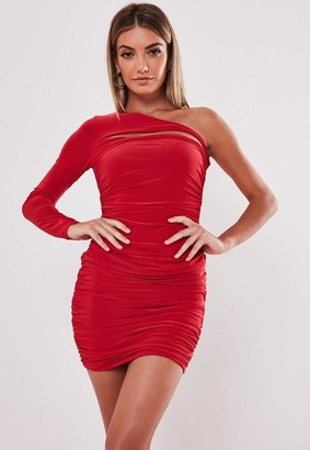 Missguided Red Slinky One Sleeve Cut Out Mini Dress
