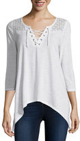Almost Famous Elbow-Sleeve Lace-Up Sharkbite Top - Juniors