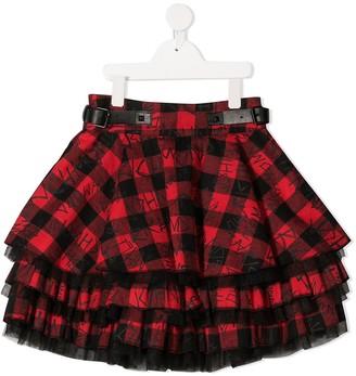 John Richmond Junior Tartan Check Layered Skirt