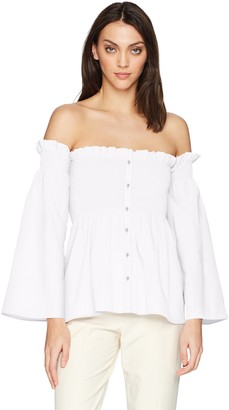ASTR the Label Women's Shelby Off The Shoulder Smocked Cotton Long Sleeve Top