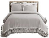 Triangle Home Fashions Ella Shabby Chic Ruffle Lace Comforter Set, Light Gray, Full/Queen, 3-
