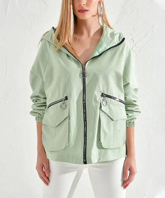 Milan Kiss Women's Non-Denim Casual Jackets MINT - Mint Zip-Pocket Hooded Jacket - Women