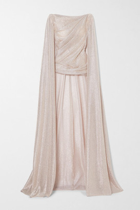 Talbot Runhof Cape-effect Draped Metallic Voile Top - Platinum