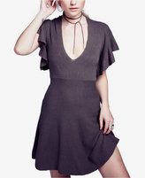 Free People Cozy Nights V-Neck Fit & Flare Dress