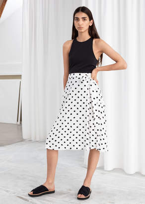 And other stories Belted Polka Dot Midi Skirt