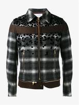 Kolor Wool Blend Leopard Print Check Bomber Jacket