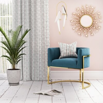 """Thumbnail for your product : CosmoLiving by Cosmopolitan Rooney 32.25"""" Wide Tufted Velvet Barrel Chair"""