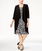 R & M Richards Plus Size Jacket & Necklace Printed Dress