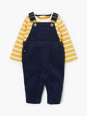 John Lewis & Partners Baby Cord Dungaree and Striped Top Set, Navy