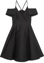 Halston Cold-shoulder Cotton And Silk-blend Mini Dress