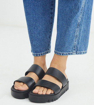 ASOS DESIGN Wide Fit Fletch chunky jelly flat sandals in black