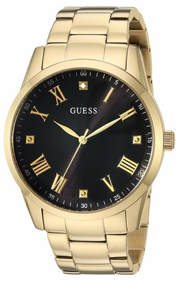 GUESS Gold-Tone Stainless Steel Bracelet Watch with Black Genuine Diamond Dial + Gold-Tone Roman Numerals. Color: Rose Gold-Tone (Model U1194G3)