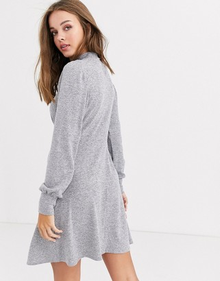 New Look high neck long sleeve mini dress in grey