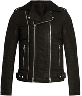 Balmain Coated-cotton biker jacket