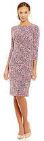Jessica Howard Printed 3/4 Sleeve Side Tucked Sheath Dress