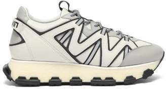 Lanvin Lightening Panelled Leather Trainers - Mens - White Multi