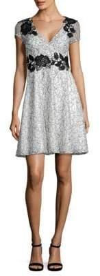 Aidan Mattox Short Sleeve Lace Cocktail Dress