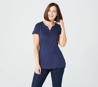 Denim & Co. Jersey Split V-Neck Extended Shoulder Tunic
