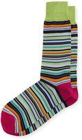 Neiman Marcus Mercerized Multi-Stripe Socks