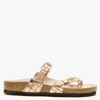 Birkenstock Mayari Gator Gleam Copper Thong Sandals