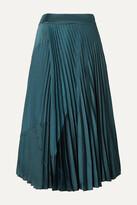 Vince - Paneled Pleated Crepe And Crinkled-satin Midi Skirt - Blue
