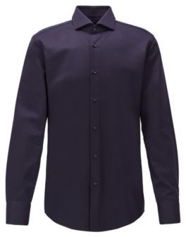 BOSS Slim-fit shirt in micro-structured Italian cotton
