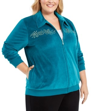 Alfred Dunner Plus Size Bright Idea Embellished Velour Jacket