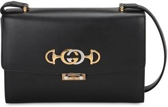 Gucci SMALL ZUMI FLAP LEATHER SHOULDER BAG