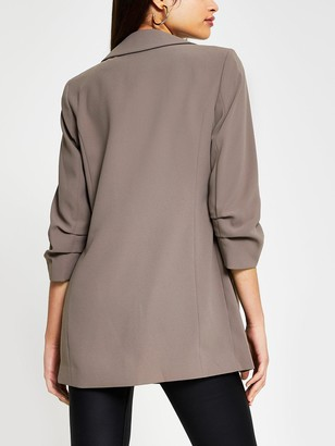 River Island Ruched Sleeve Blazer - Taupe