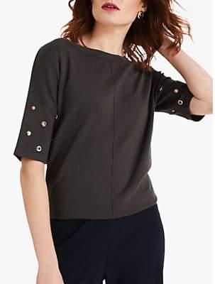 Phase Eight Marjory Embellished Dropped Sleeve Jumper, Khaki