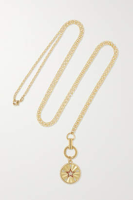 Foundrae Star 18-karat Gold, Diamond And Enamel Necklace