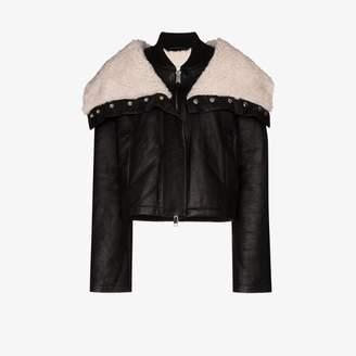 SHOREDITCH SKI CLUB Laburnum leather and shearling jacket