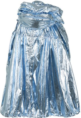 Juun.J Gathered Metallic Skirt