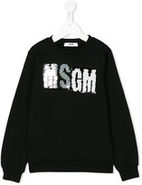 MSGM sequin logo sweatshirt - kids - Cotton - 4 yrs