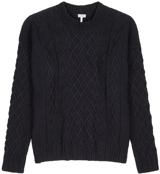 Loewe Navy cable-knit cotton jumper